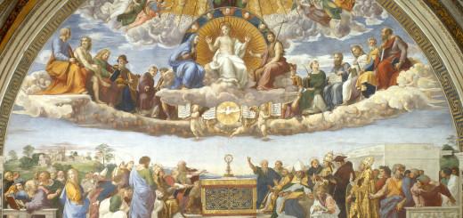 Raffaello Sanzio, La Chiesa Trionfante (o la Disputa del Sacramento), 1509-1510, Stanza della Segnatura, Città del Vaticano