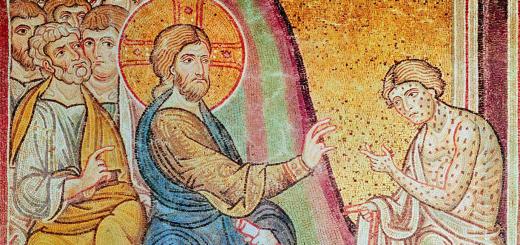 Gesù guarisce i dieci lebbrosi, mosaico, sec. XII, Cattedrale di Santa Maria La Nuova, Monreale, Palermo