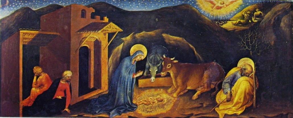 Gentile da Fabriano: Pala dell'adorazione dei magi – particolare della Natività, Galleria degli Uffizi, Firenze