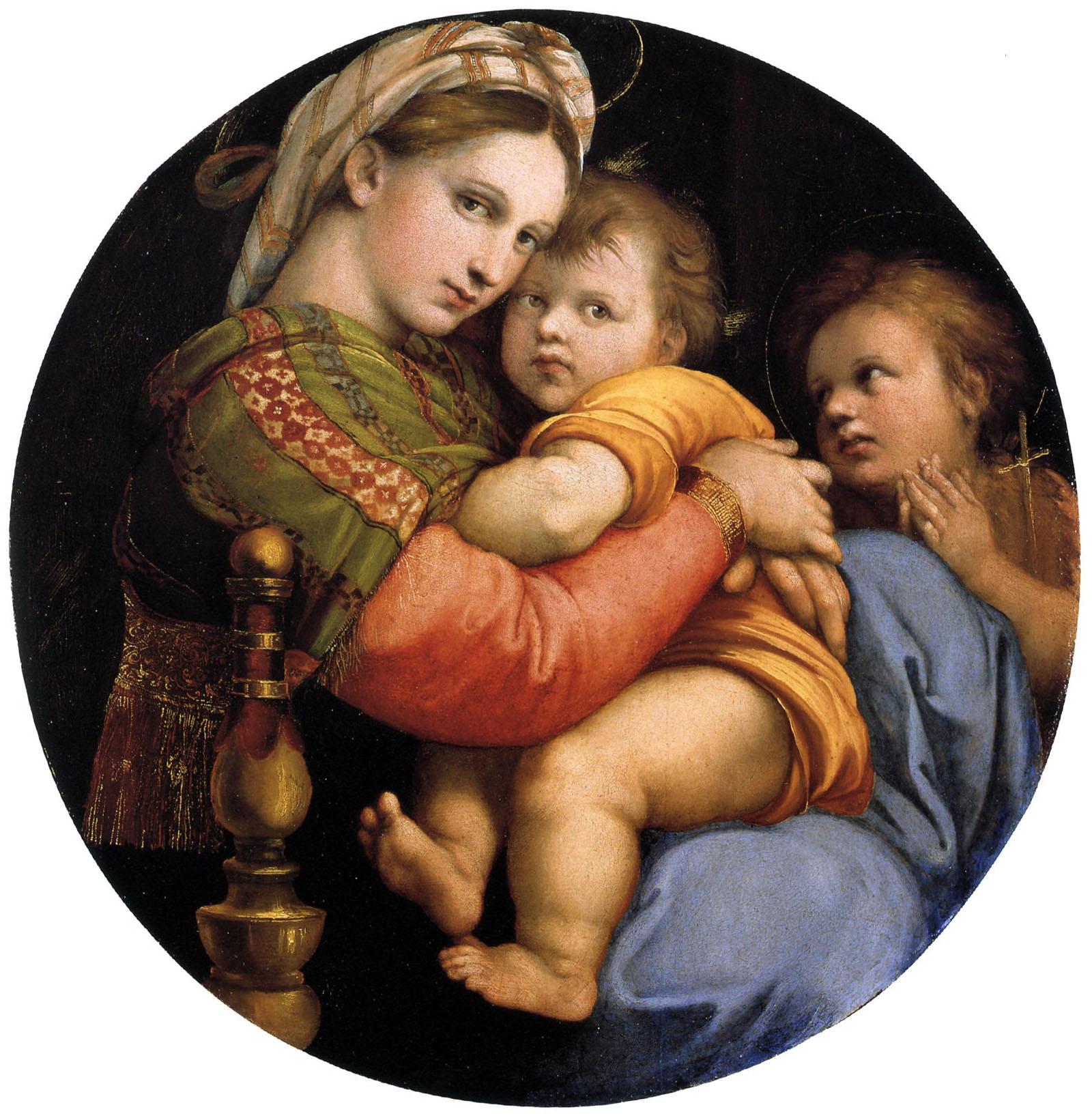 Raffaello Sanzio, Madonna della seggiola, 1513-1514, Galleria Palazzo Pitti, Firenze