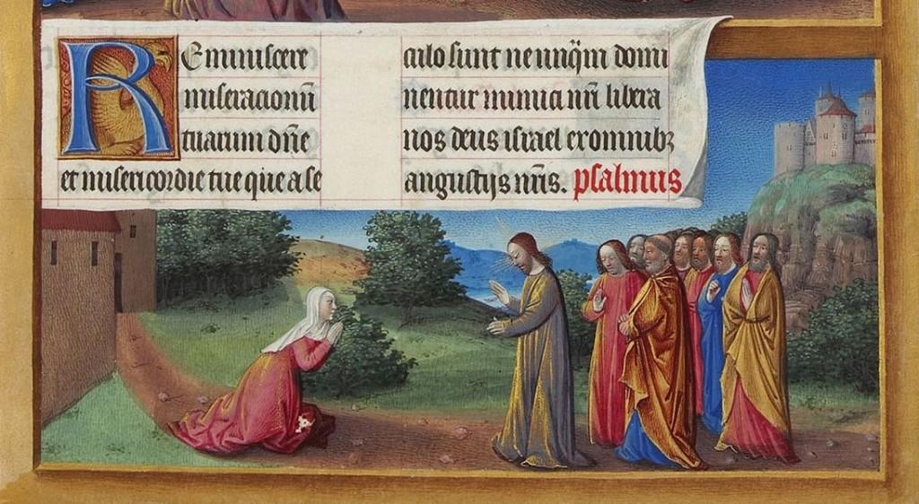 Cristo e la Cananea, Très Riches Heures du Duc de Berry, manoscritto miniato, quindicesimo secolo.