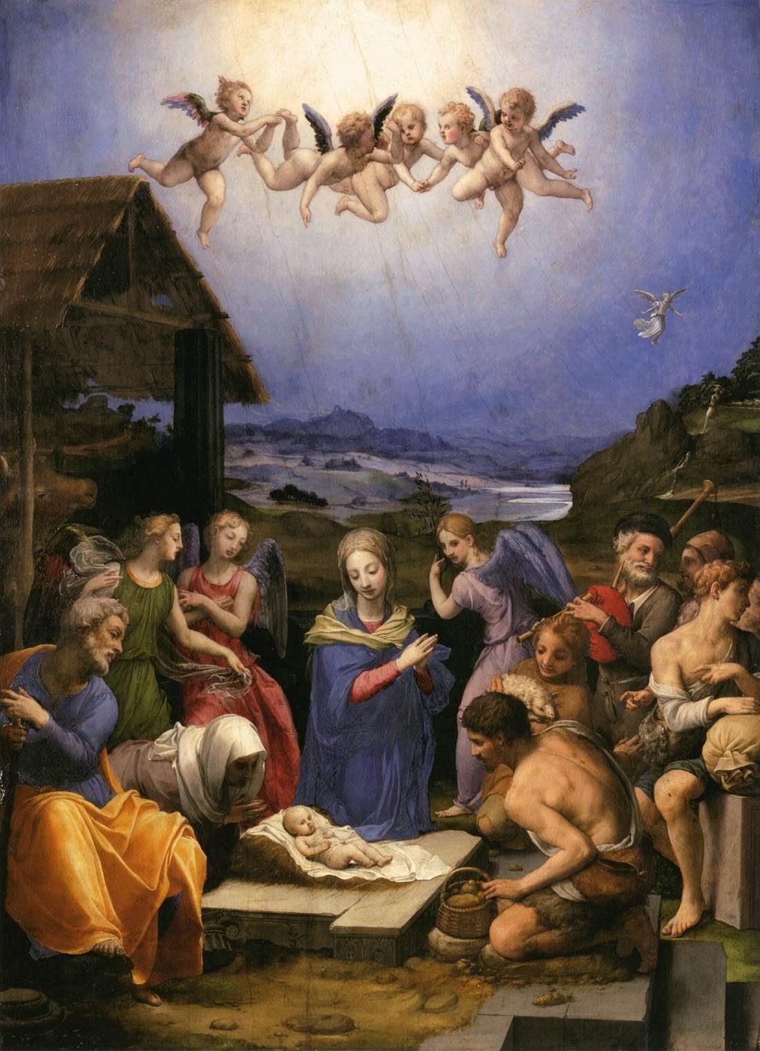 """""""Non temete: ecco, vi annuncio una grande gioia, che sarà di tutto il popolo: oggi, nella città di Davide, è nato per voi un Salvatore, che è Cristo Signore. Questo per voi il segno: troverete un bambino avvolto in fasce, adagiato in una mangiatoia"""" Lc 2, 10-12, Bronzino, Adorazione dei pastori, 1539, Museo di Belle Arti, Budapest."""