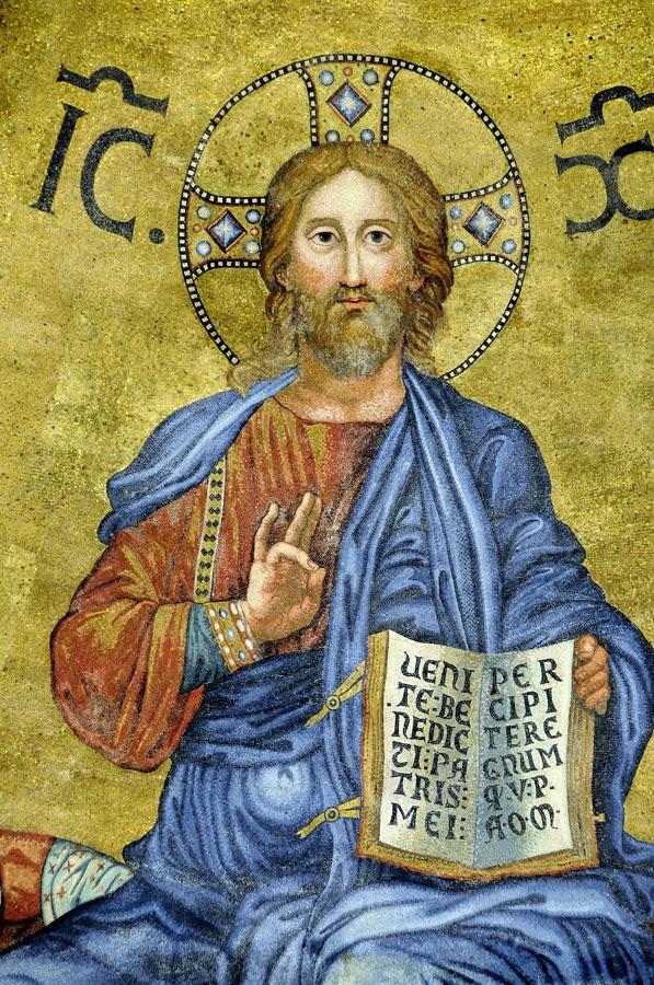 Cristo Gesù, particolare del mosaico absidale della Basilica Pontificia di San Paolo fuori le mura, Roma