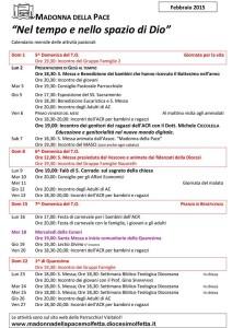 calendario attività febbraio