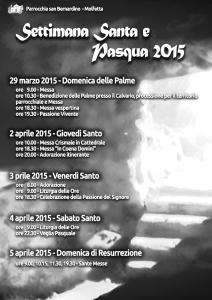 Settimana Santa e Pasqua 2015