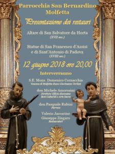 manifesto restauri san salvatore statue san francesco sant'antonio