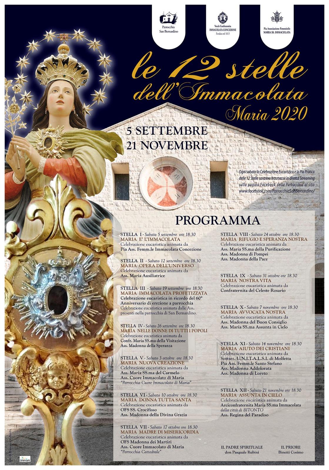 dodici stelle immacolata 2020 - programma completo parrocchia san bernardino molfetta