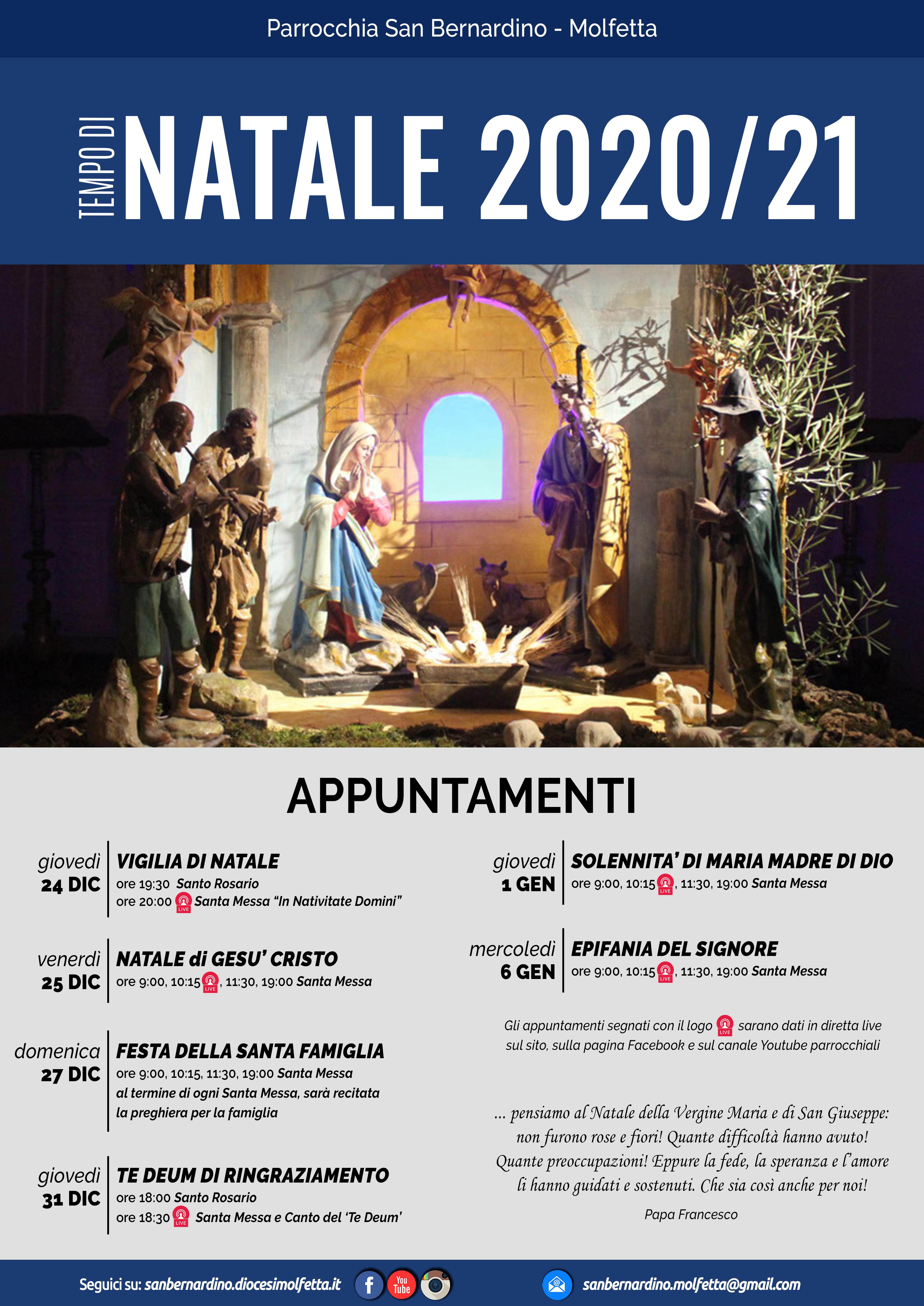 parrocchia san bernardino molfetta natale avvento appuntamenti messe dirette 2020 2021
