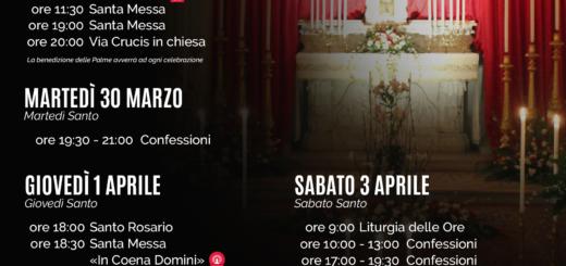 Eventi Settimana Santa 2021 Parrocchia san Bernardino